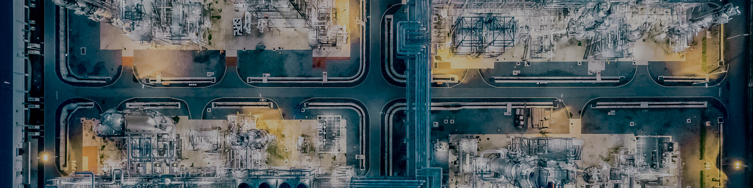 Macro Aerial top view Oil refinery night